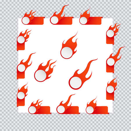 Fire and flame sale tags. Set of vector icon illustration on transparent background Eps 10 Çizim
