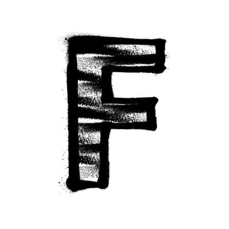 Letter F. Graffiti alphabet with spray lines and overspray. Vector illustration Eps 10