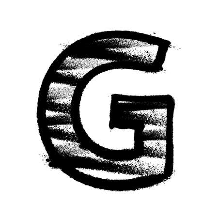 Letter G. Graffiti alphabet with spray lines and overspray. Vector illustration