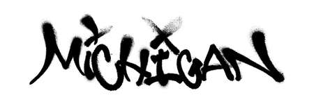 Sprayed Michigan font graffiti with overspray in black over white. Vector illustration.