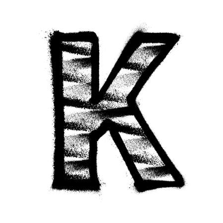 Letter K. Graffiti alphabet with spray lines and overspray. Vector illustration