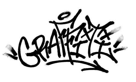 Sprayed graffiti font with overspray in black over white. Vector illustration. Ilustrace