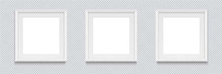 Three square realistic white photo frame isolated on transparent background. Vector illustration.