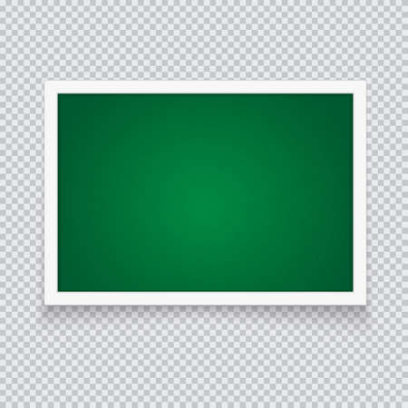 Horizontal green chalkboard in neat plastic case. Vector illustration with falling shadow on a transparent background.