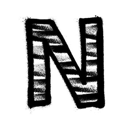 Letter N. Graffiti alphabet with spray lines and overspray. Vector illustration