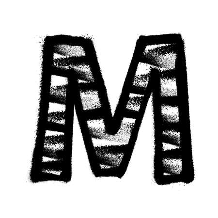 Letter M. Graffiti alphabet with spray lines and overspray. Vector illustration Ilustrace
