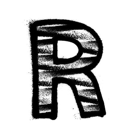 Letter R. Graffiti alphabet with spray lines and overspray. Vector illustration Eps 10