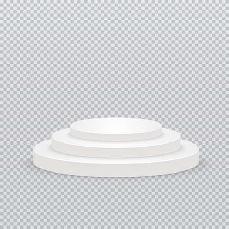 Round podium, pedestal or platform on transparent background. Vector illustration EPS 10