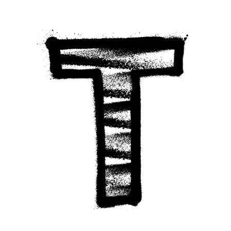 Letter T. Graffiti alphabet with spray lines and overspray. Vector illustration Ilustrace