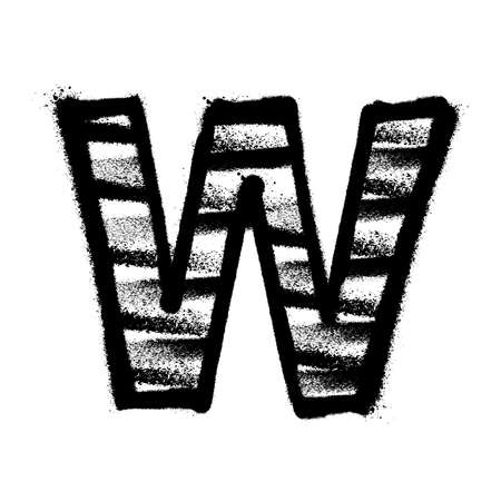 Letter W. Graffiti alphabet with spray lines and overspray. Vector illustration