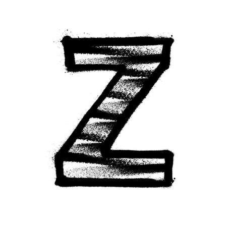 Letter Z. Graffiti alphabet with spray lines and overspray. Vector illustration Eps 10 Ilustrace