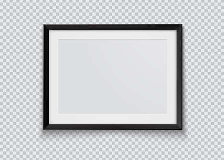 Realistic horizontal black photo frame isolated on transparent background. Vector illustration.