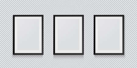 Three realistic black picture or photo frame isolated on transparent background. Vector illustration EPS 10