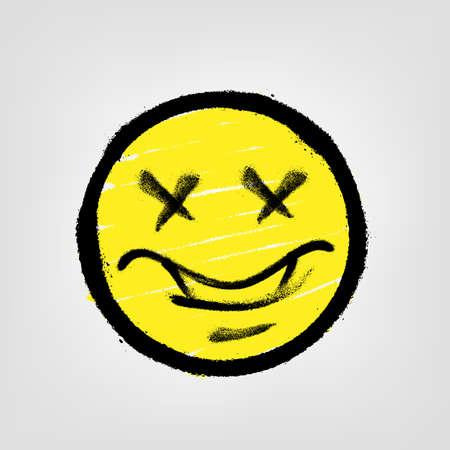 Graffiti emoticon. Smiling face painted spray paint. Vector illustration
