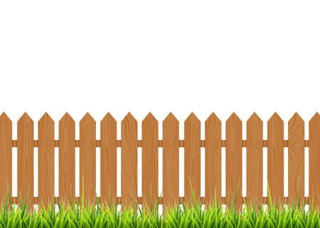 Wooden fence with grass. Vector illustration isolated on white background. EPS 10