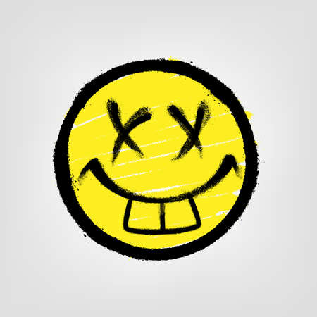 Graffiti emoticon. Smiling face painted spray paint. Vector illustration