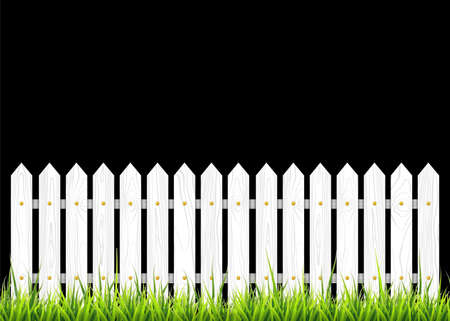 White wooden fence with grass. Vector illustration isolated on black background Vecteurs