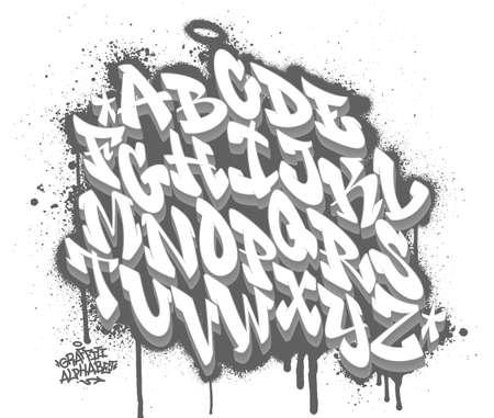 Handwritten graffiti font alphabet on spray paint background. Vector illustration Vector Illustration