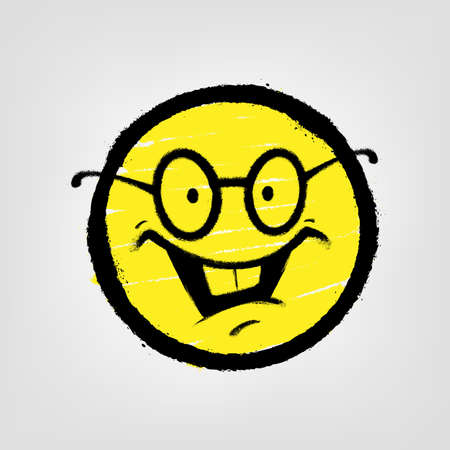Graffiti emoticon. Smiling face with glasses. Vector illustration.