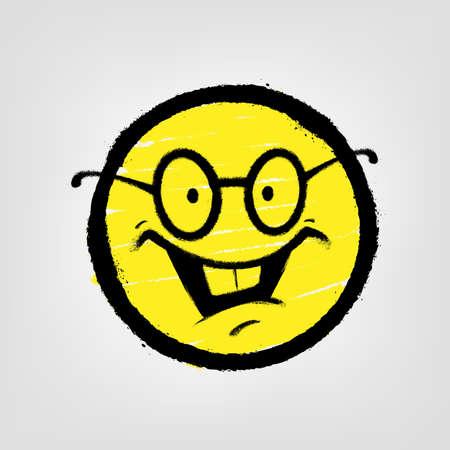 Graffiti emoticon. Smiling face with glasses. Vector illustration.
