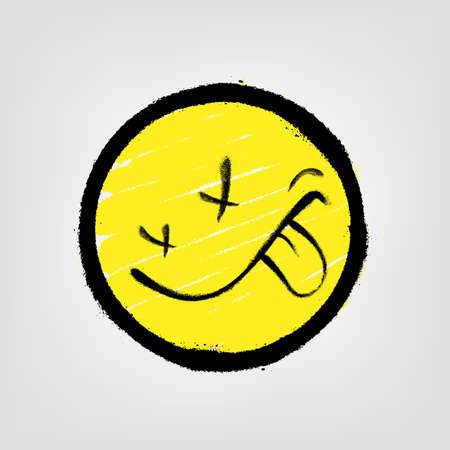 Graffiti emoticon. Smiling face. Vector illustration EPS 10