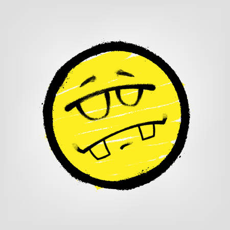 Graffiti emoticon. Smiling face with glasses. Vector illustration EPS 10