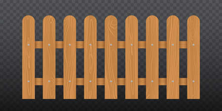 Brown wooden fence. Vector illustration isolated on transparent background 向量圖像