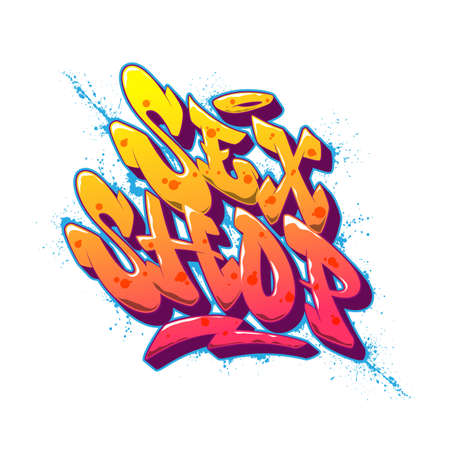 Sex Shop font in old school graffiti style. Vector illustration.