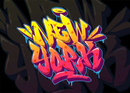 New York font in old school graffiti style. Vector illustration EPS 10