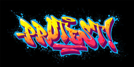 Protest font in old school graffiti style. Vector illustration. 矢量图像
