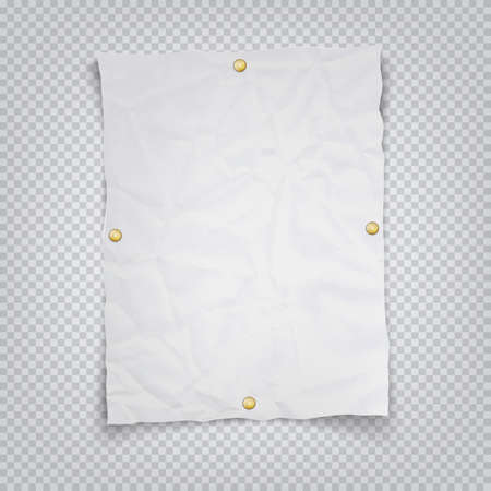 White crumpled sheet of paper holding buttons on a transparent background. Vector illustration of a realistic A4 sheet with shadow Vettoriali