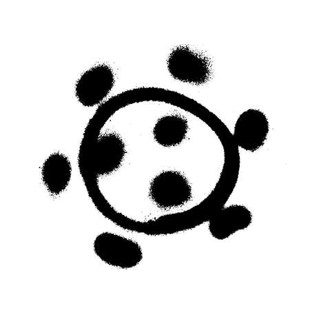 Coronavirus icon drawn by graffiti paint. Vector illustration
