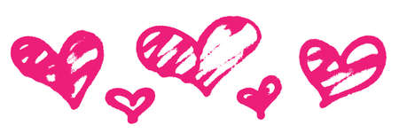 Sprayed graffiti hearts set in pink on white. Vector illustration Vettoriali