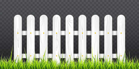 White wooden fence with green grass. Vector illustration isolated on transparent background EPS 10 Vectores