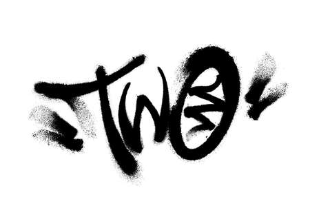 Sprayed two font with overspray in black over white. Vector illustration.