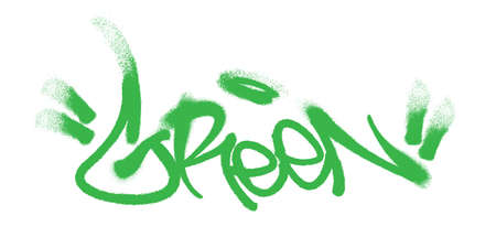 Green lettering in the form of a graffiti tag. Vector illustration on a white background EPS 10
