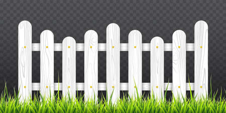 White wooden fence with green grass. Vector illustration isolated on transparent background