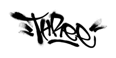 Sprayed three font with overspray in black over white. Vector illustration. Vettoriali