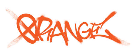Orange lettering in the form of a graffiti tag. Vector illustration on a white background.