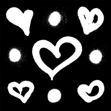 Sprayed graffiti hearts and dots set in pink on white. Vector illustration Vettoriali