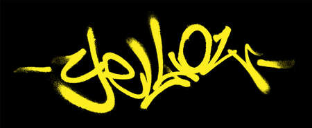 Yellow lettering in the form of a graffiti tag. Vector illustration on a white background.
