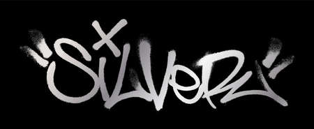 Silver lettering in the form of a graffiti tag. Vector illustration on a black background. Vettoriali