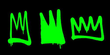 Sprayed crowns with overspray in green over black. Vector illustration.
