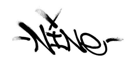 Sprayed nine font with overspray in black over white. Vector illustration. Vettoriali