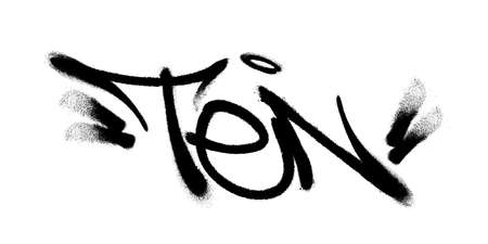 Sprayed ten font with overspray in black over white. Vector graffiti art illustration.