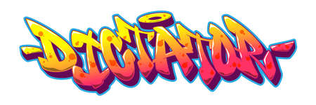 Dictator font in old school graffiti style. Vector illustration EPS 10