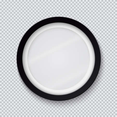 Realistic circle black photo frame isolated on transparent background. Vector illustration.