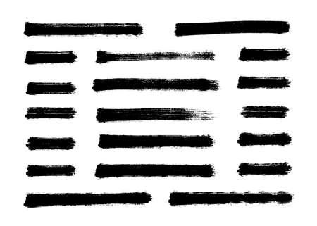 Brush strokes set hand drawn scribble abstract vector illustration. Border design template. Vettoriali