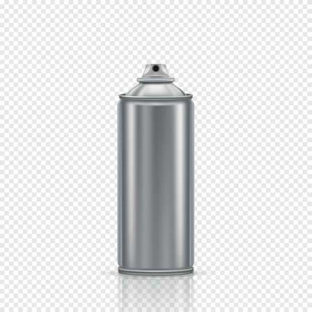 Steel spray can on a transparent background. Vector illustration