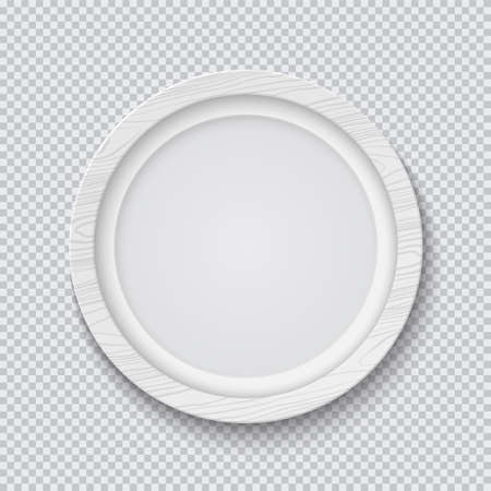 Realistic circle white wooden photo frame isolated on transparent background. Vector illustration.